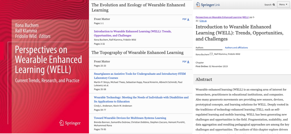 Perspectives on Wearable Enhanced Learning (WELL). Current Trends, Research, and Practice.